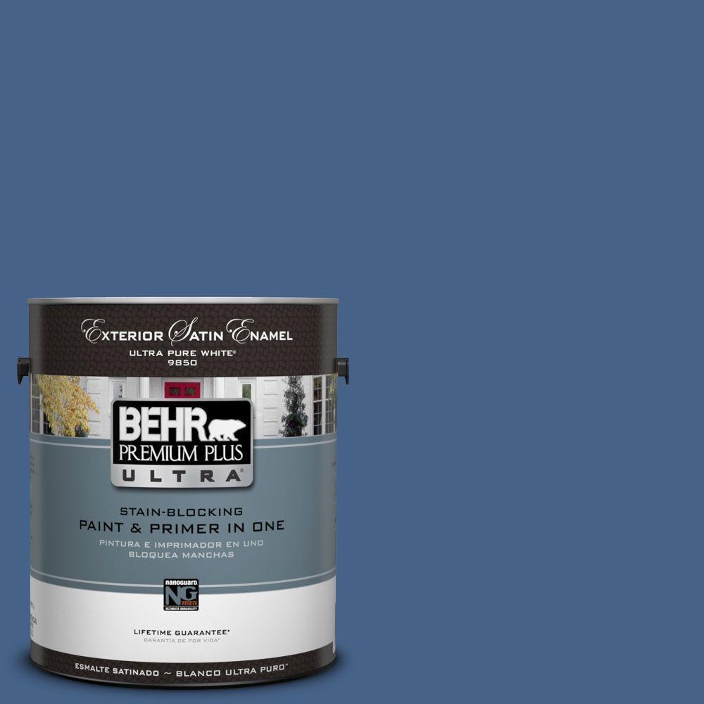 BEHR Premium Plus Ultra 1-Gal. #UL240-21 Mosaic Blue Satin Enamel Exterior Paint