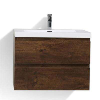 MOB 30 In. W Vanity In Rich Rosewood With Reinforced Acrylic Vanity Top In  White
