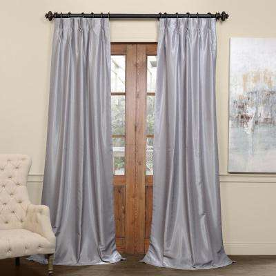 Silver Blackout Vintage Textured Faux Dupioni Pleated Curtain - 25 in. W x 96 in. L