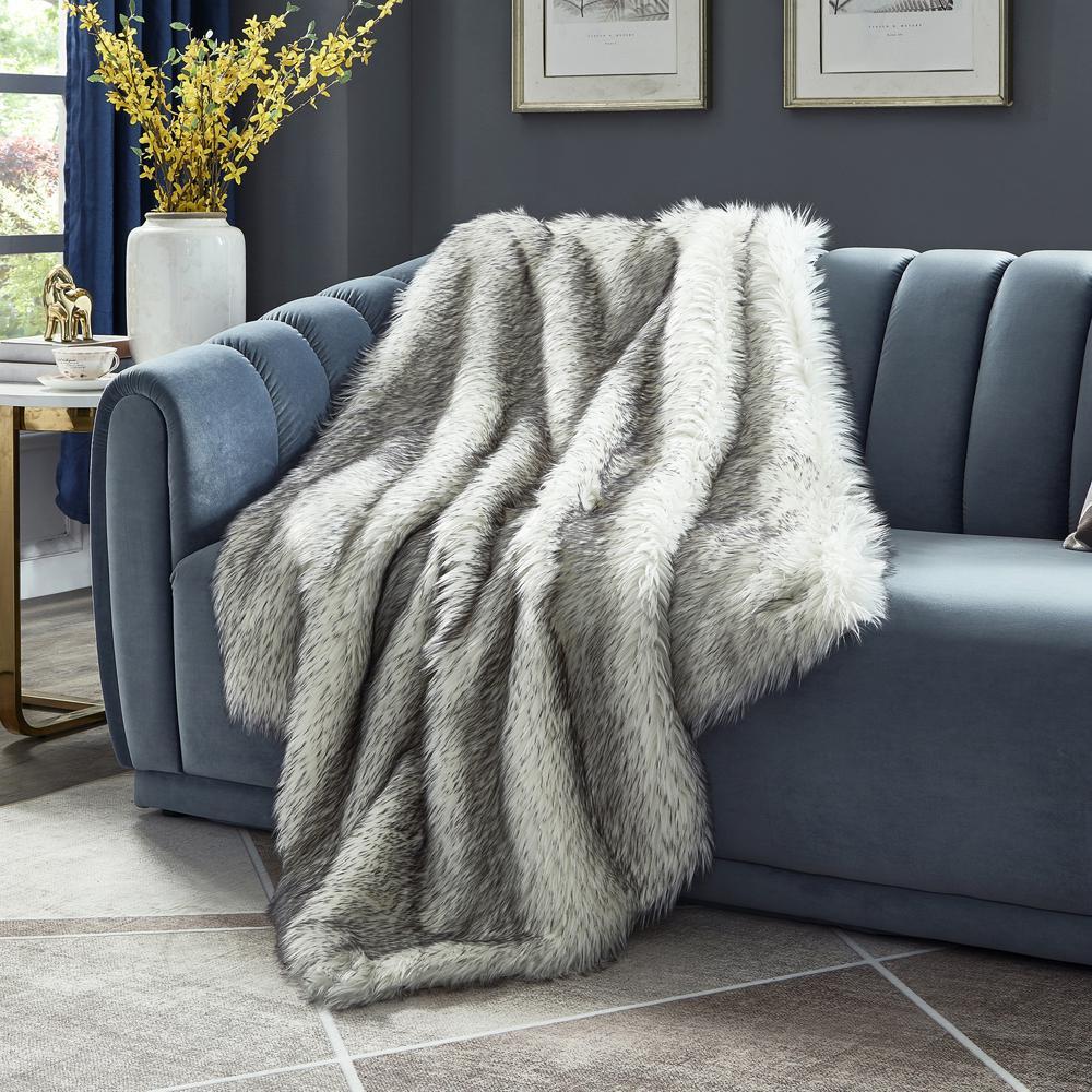 Suzette 50 in. x 60 in. Dark Grey Reversible Micromink Throw Blanket