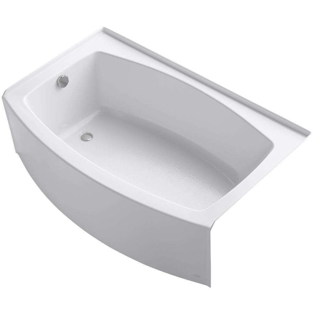 Bon Acrylic Left Hand Drain Rectangular Alcove Bathtub In White