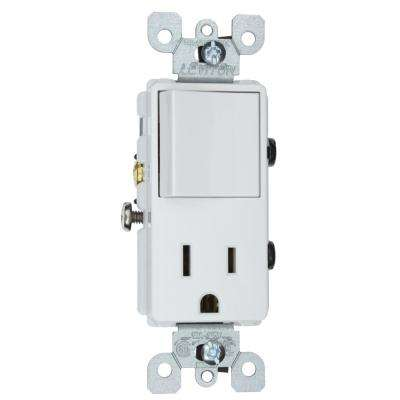 15 Amp Decora Commercial Grade Combination Single Pole Rocker Switch and Receptacle, White