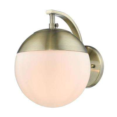 Dixon 1-Light Aged Brass with Opal Glass and Aged Brass Cap Sconce