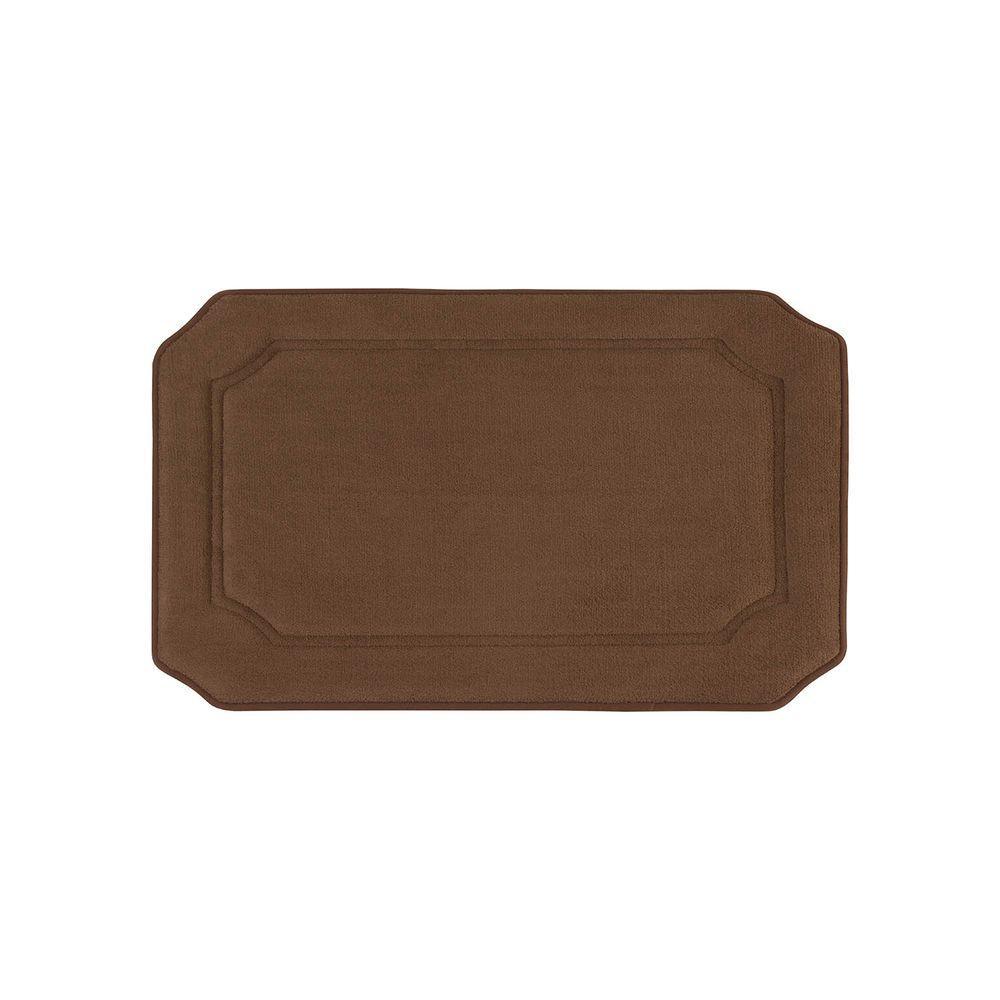Walden Premium Extra Thick Micro Plush Mocha 17 in. x 24 in. Memory Foam Bath Mat