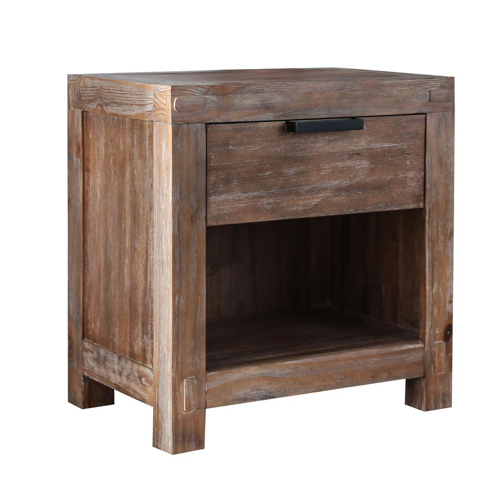 Amarica 1-Drawer Weathered Light Oak Nightstand