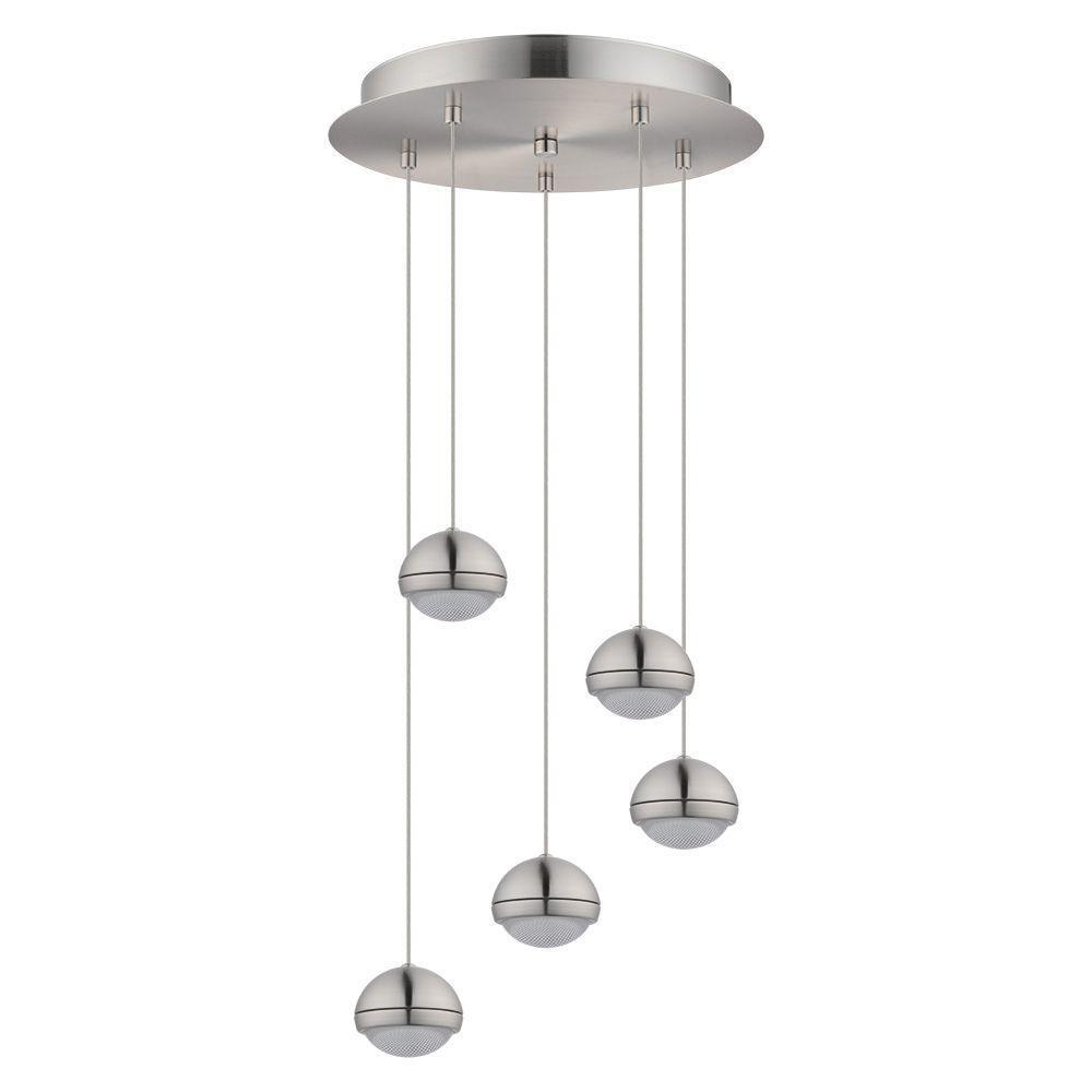 Lombes 100-Watt Matte Nickel Integrated LED Pendant