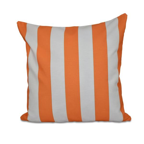 undefined Classic Orange Striped 16 in. x 16 in. Throw Pillow