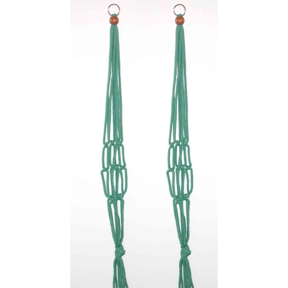 36 in. Polypropylene Sage Macrame Plant Hangers (2-Pack)
