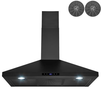 36 in. Convertible Black Painted Stainless Steel Wall Mount Range Hood with LEDs, Touch Control and Carbon Filters