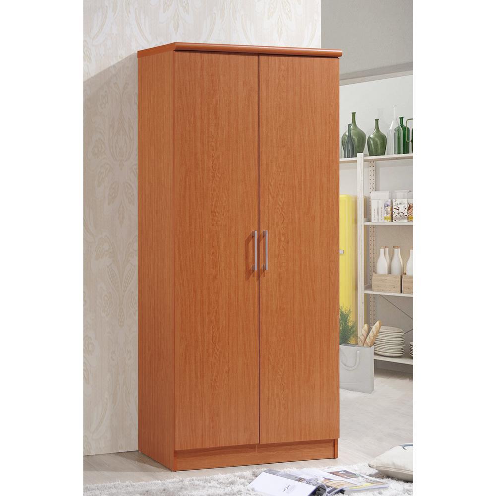 Hodedah 2 Door Cherry Armoire With Shelves Hid8600 The Home Depot
