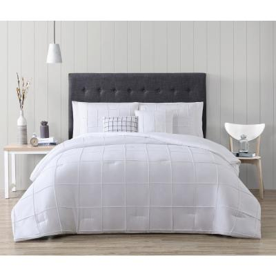 Nelli 5-Piece White Queen Box-Pinch Pleat Comforter Set with Throw Pillows