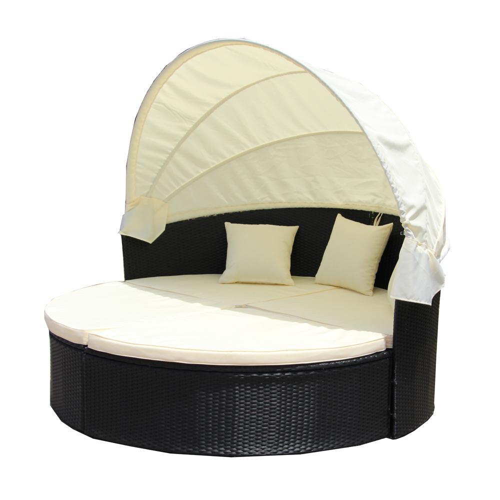 Black 2 Piece Wicker Patio Conversation Set With Cream Cushions