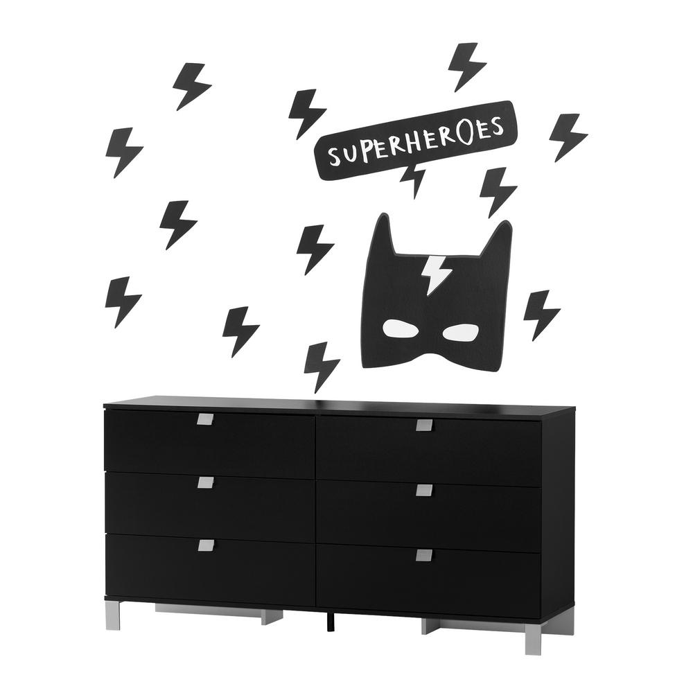South S Spark Pure Black 6 Drawer Double Dresser With Superheroes Wall Decals