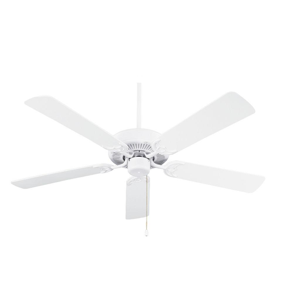 Pro Builder 52 in. Indoor Chalk White Downrod or Flush Mount Ceiling Fan with Pull Chain Control