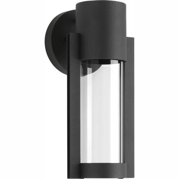 Z-1030 Collection 1-Light Black 12 in. Outdoor Integrated LED Wall Lantern Sconce