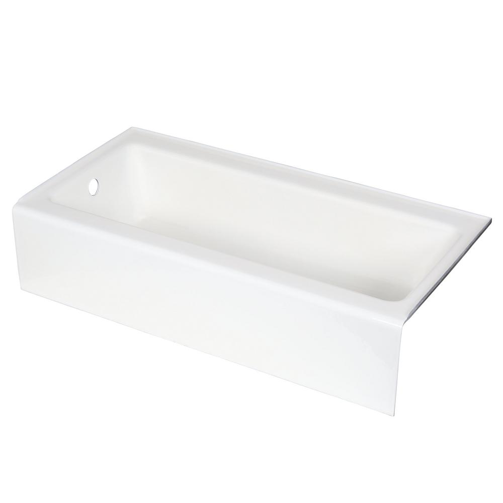 KOHLER Bellwether 5 ft. Rectangle Left Drain Bathtub with Integral Farmhouse Apron in White