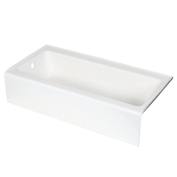 Bellwether 60 in. x 30 in. ADA Cast Iron Alcove Bathtub with Integral Farmhouse Apron and Left-Hand Drain in White