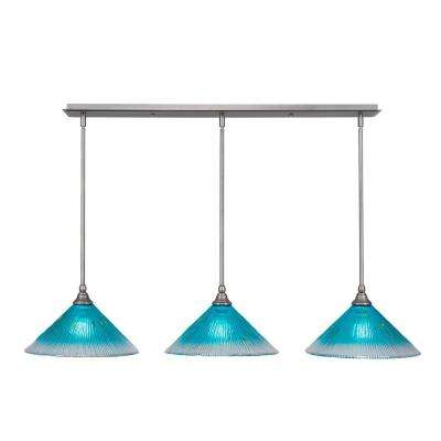 3-Light Brushed Nickel Island Pendant with Teal Ribbed Glass