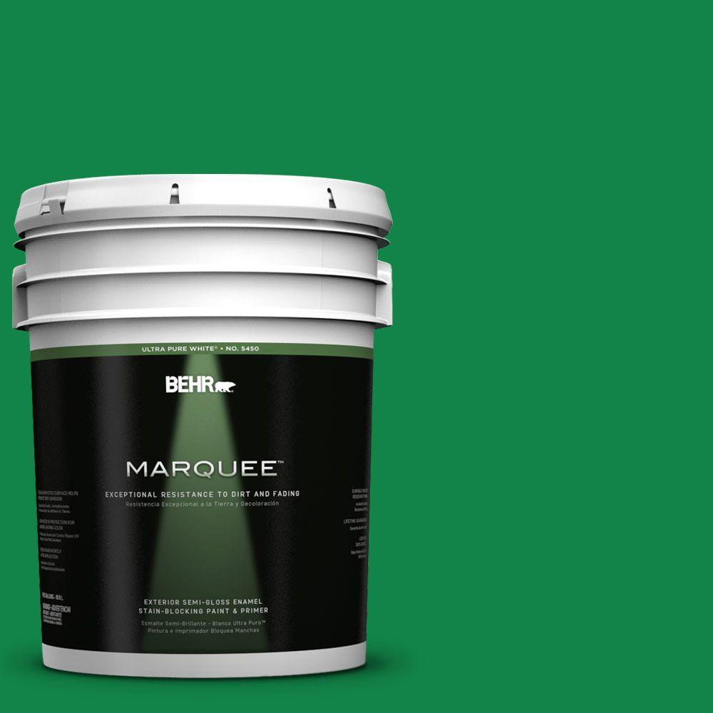 BEHR MARQUEE 5-gal. #460B-6 Chlorophyll Semi-Gloss Enamel Exterior Paint