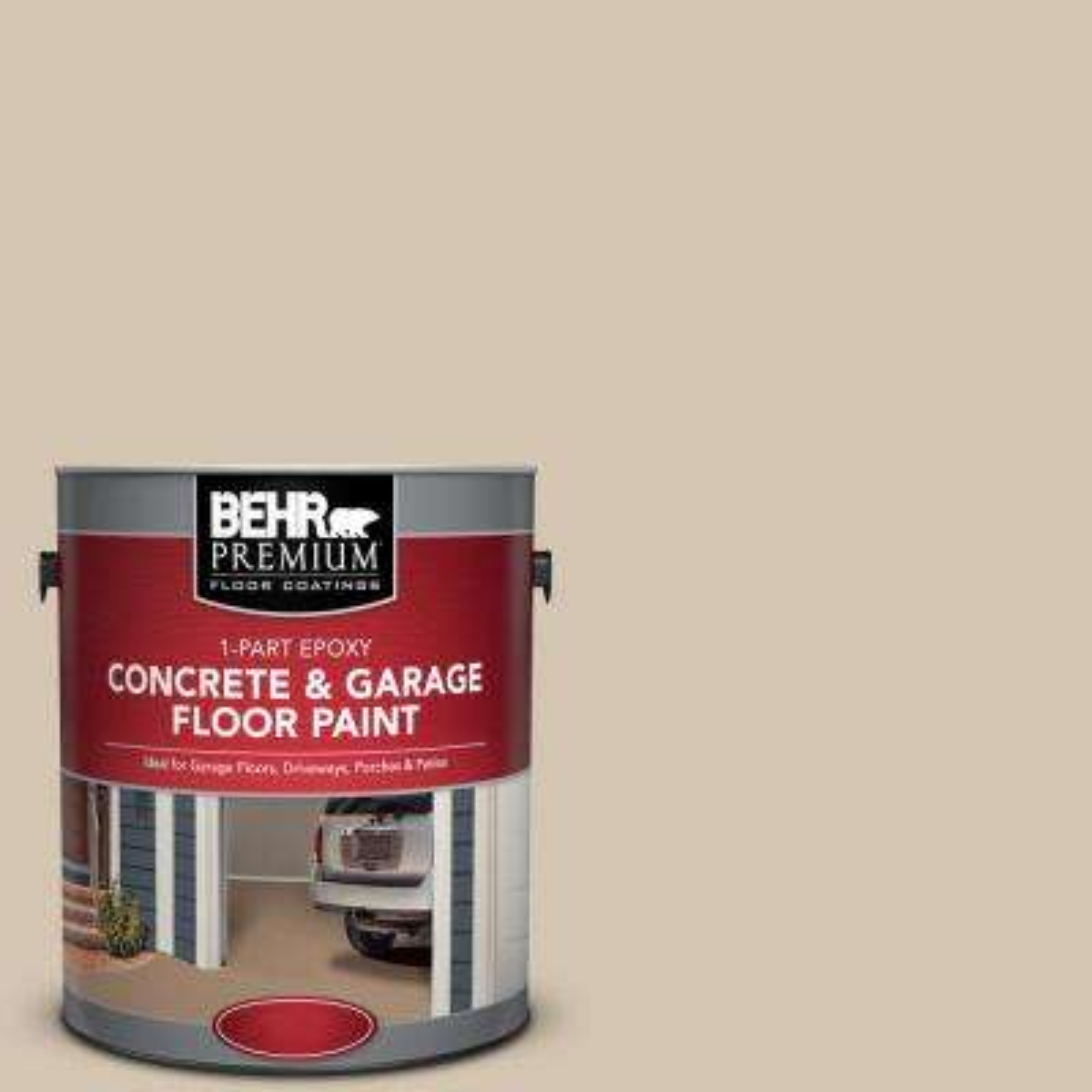 1 gal. #N300-3 Casual Khaki 1-Part Epoxy Satin Interior/Exterior Concrete and Garage Floor Paint