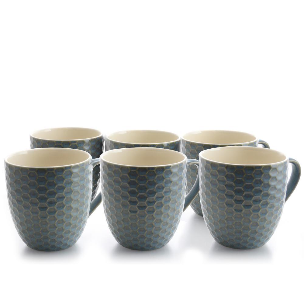 Honeycomb 15 oz. Turquoise Mugs (Set of 6)