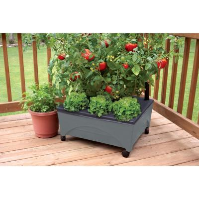 24.5 in. x 20.5 in. Charcoal Gray Plastic Patio Raised Garden Bed Kit with Watering System and Casters