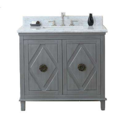 37 in. Vanity in Gray with Marble Vanity Top in Carrara White with White Basin