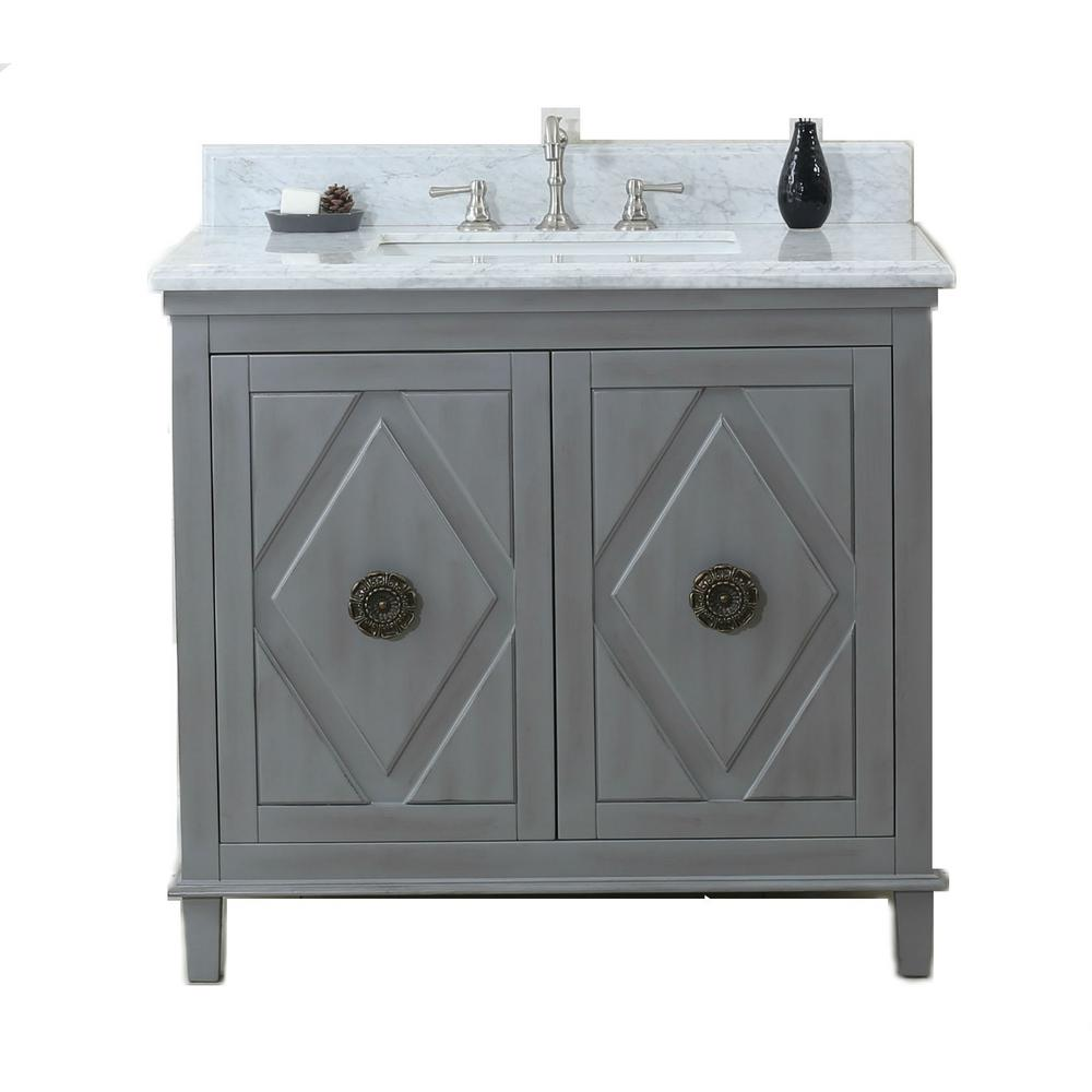 37 in. Vanity in Gray with Marble Vanity Top in Carrara