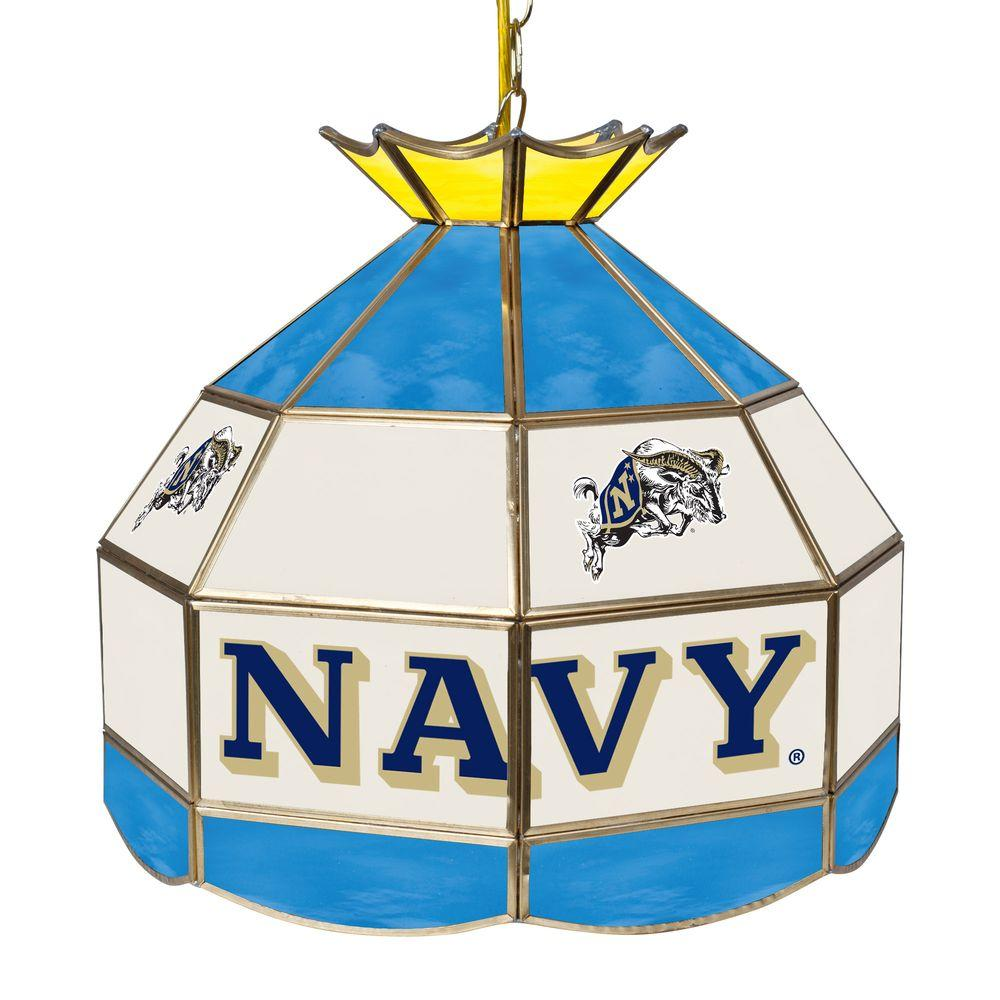 Trademark Global United States Naval Academy 16 In Gold Hanging Tiffany Style Billiard Lamp