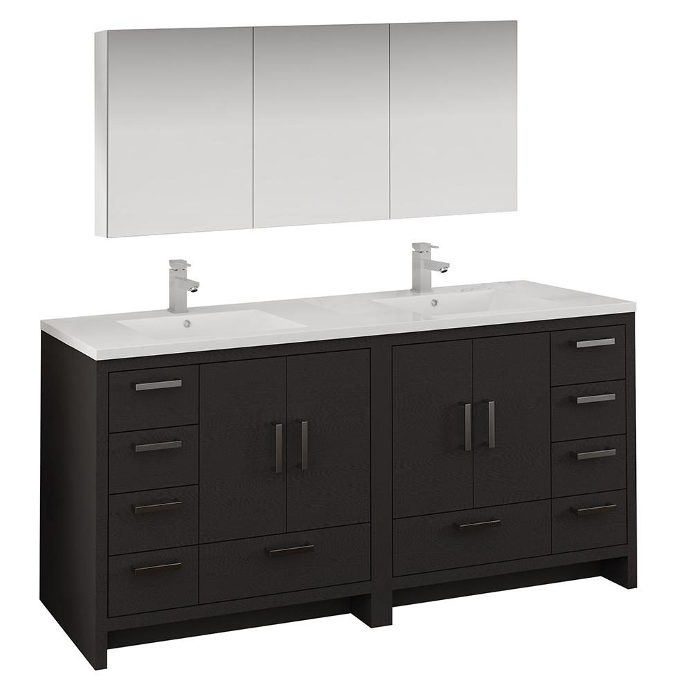 new style a7c31 609fb Fresca Imperia 72 in. Bathroom Double Vanity in Dark Gray Oak with Vanity  Top in White with White Basins and Medicine Cabinet