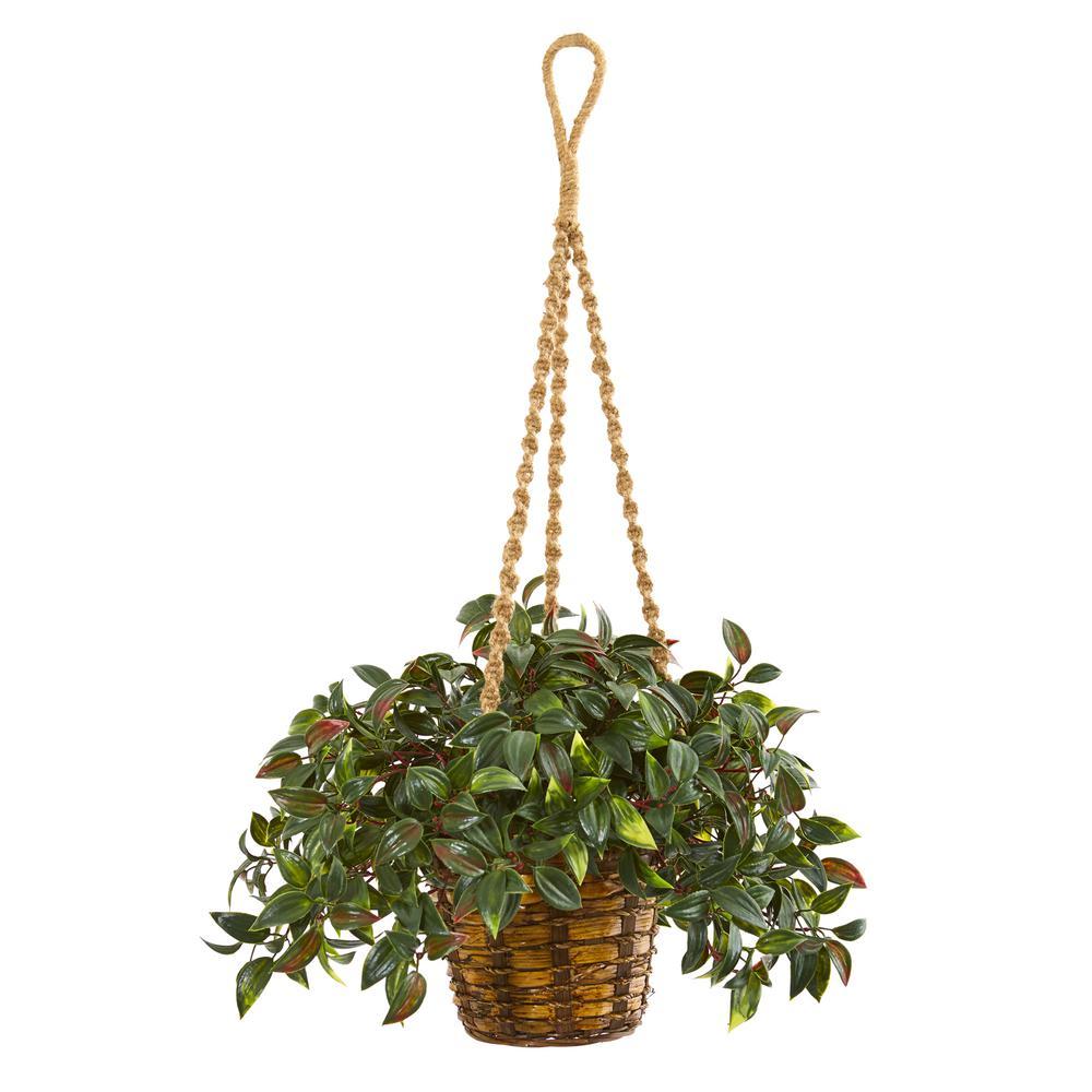 Indoor/Outdoor 30 in. Mini Melon Artificial Plant in Hanging Basket UV Resistant