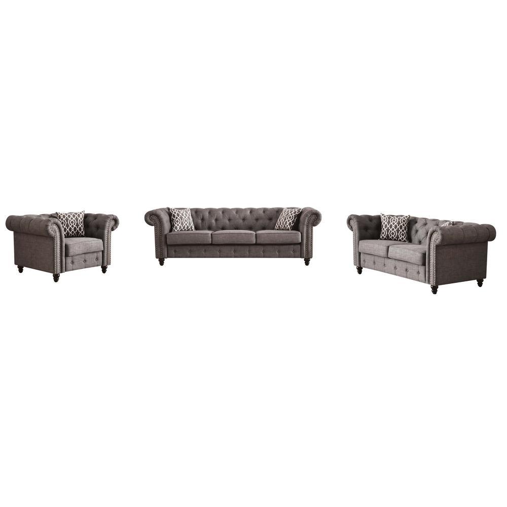 ACME Furniture Aurelia Gray Linen Sofa