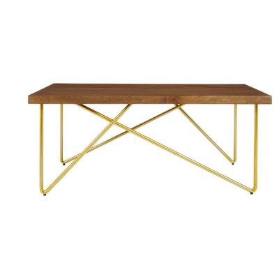 Home Decorators Collection Rectangular Haze Finish Wood Coffee Table with Brass Metal Base (42 in. W x 17.25 in. H)