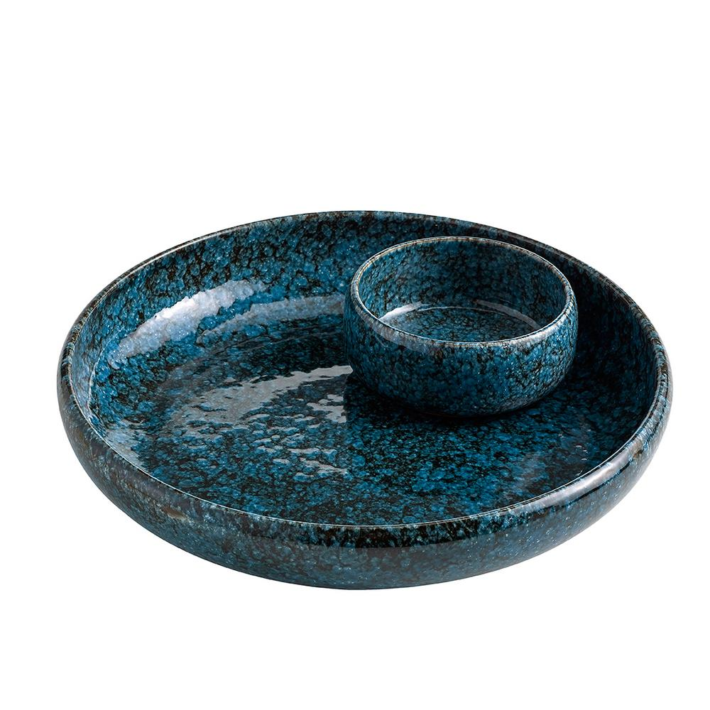 Terra Cotta Pacific Blue Chip and Dip Bowl