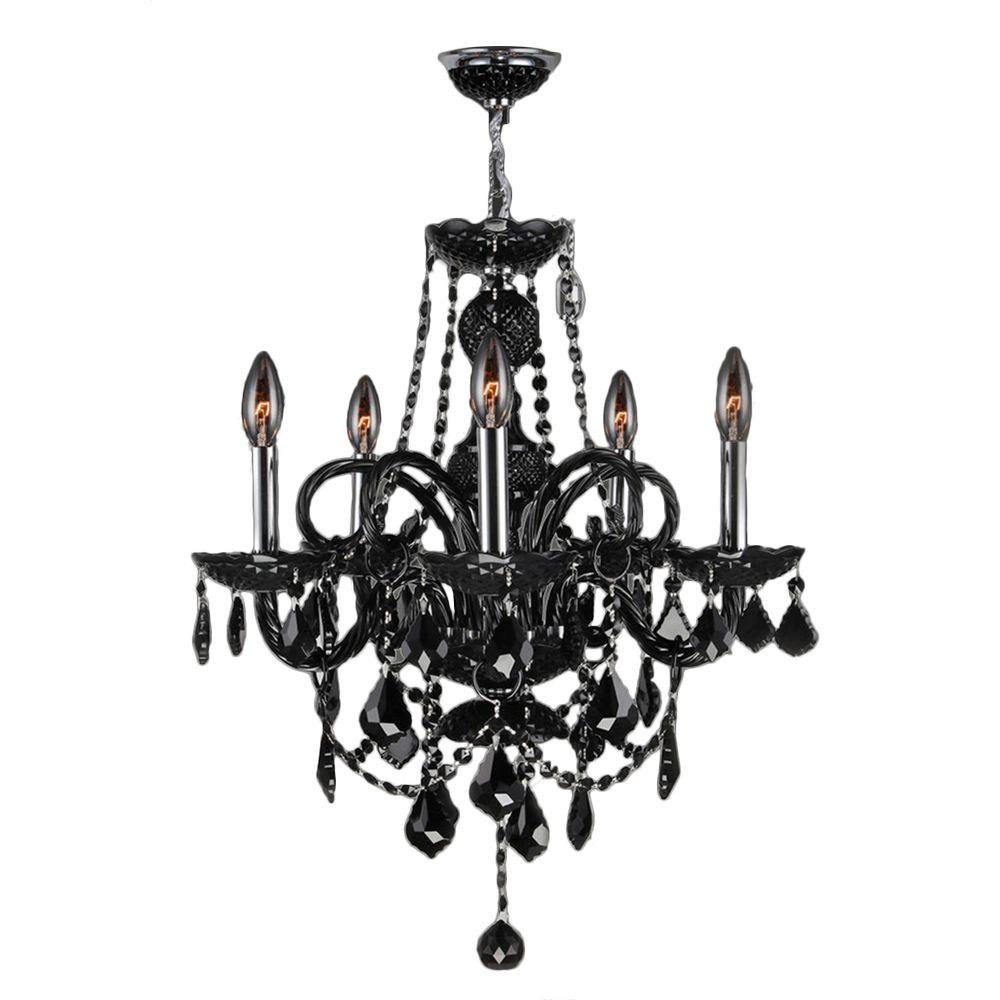 Worldwide Lighting Provence Collection 5-Light Chrome and Black Crystal Chandelier