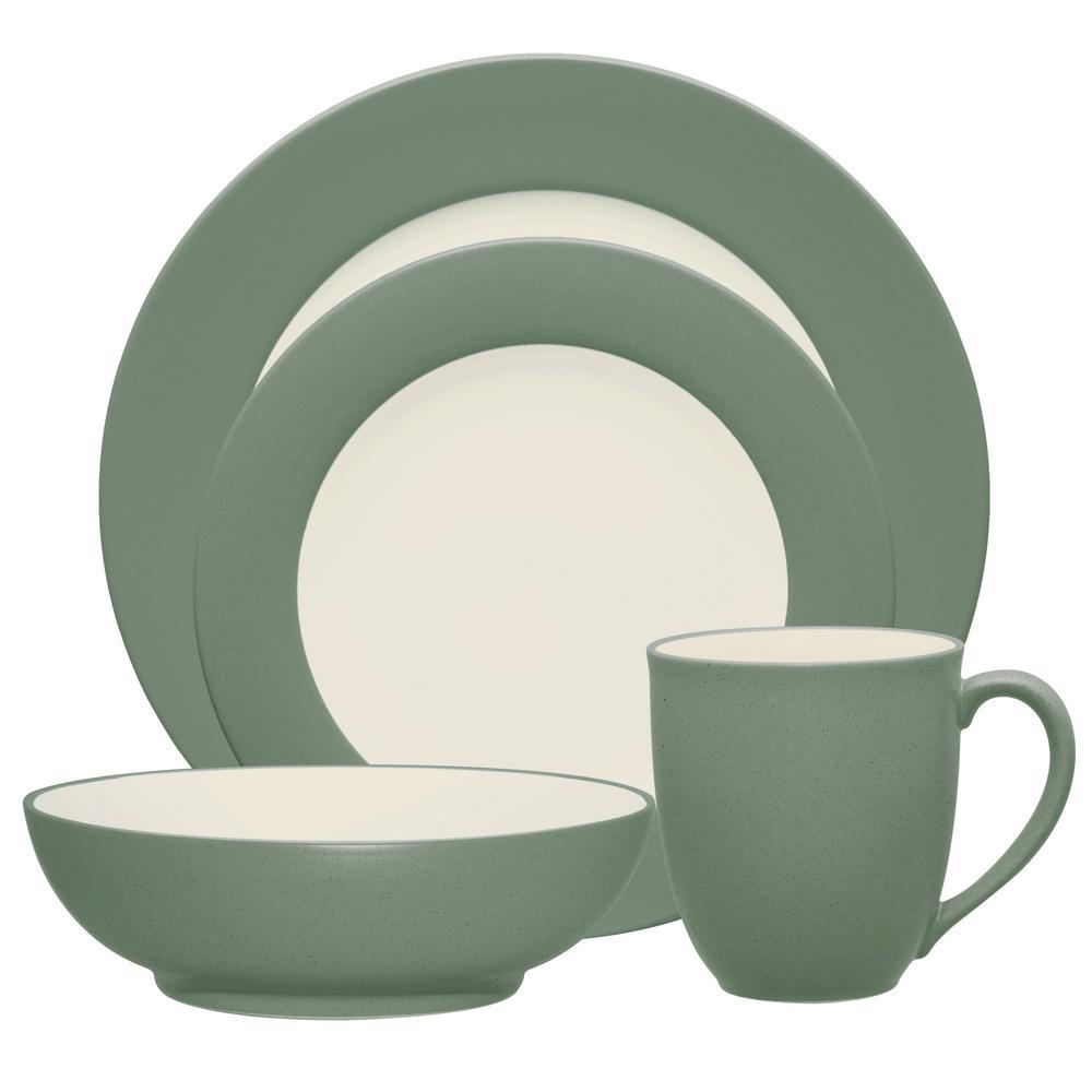 Colorwave 4-Piece Green Rim Dinnerware Set