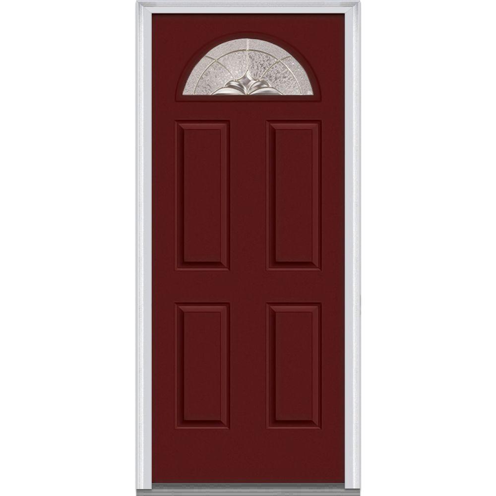 Heirloom Master Decorative Glass 1/4 Lite Painted Majestic Steel Prehung Front Door  sc 1 st  Home Depot & Burgundy - Steel Doors - Front Doors - The Home Depot