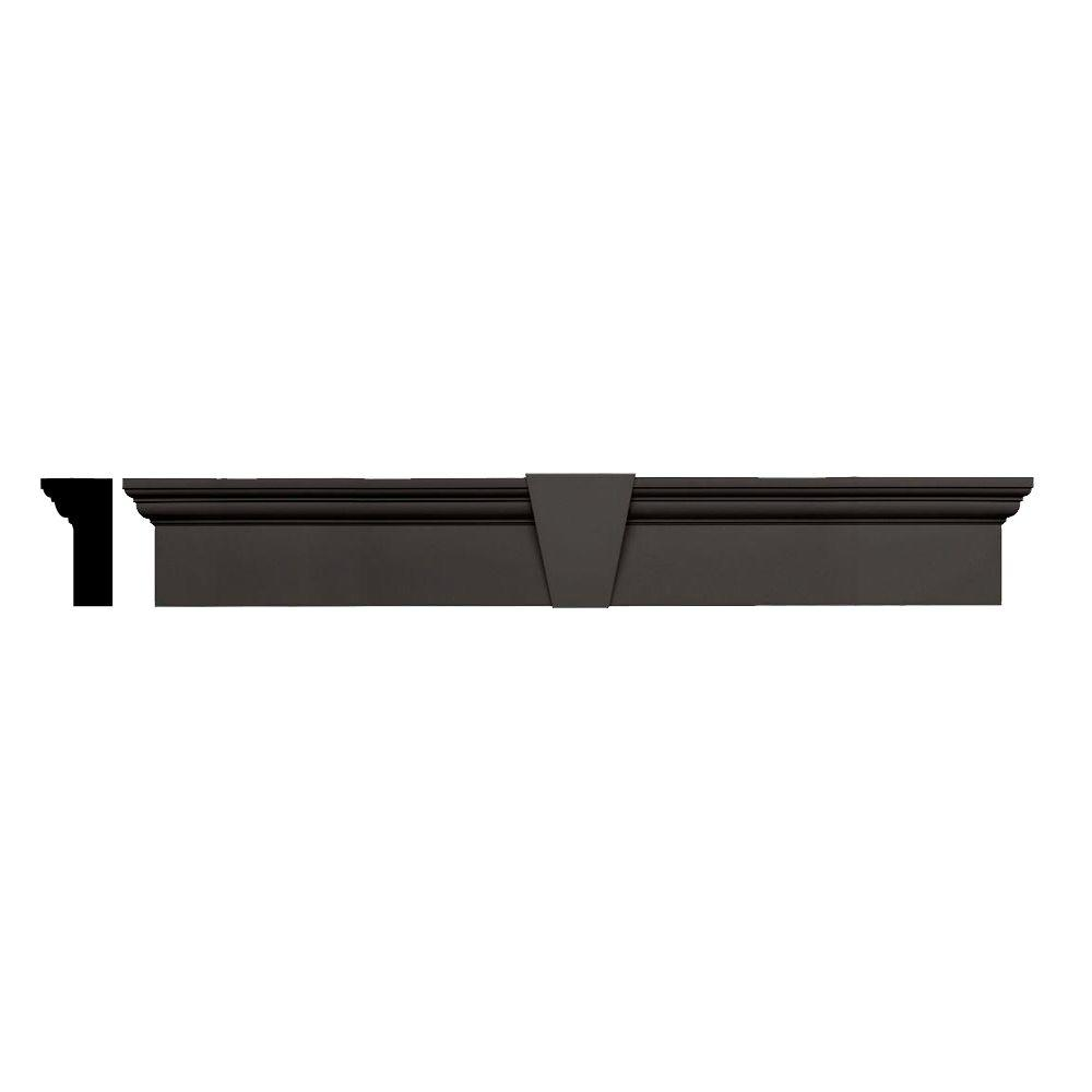 Builders Edge 3-3/4 in. x 9 in. x 65-5/8 in. Composite Flat Panel Window Header with Keystone in 018 Tuxedo Gray