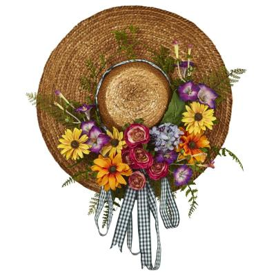 Mixed Flower 18 in. Hat Wreath