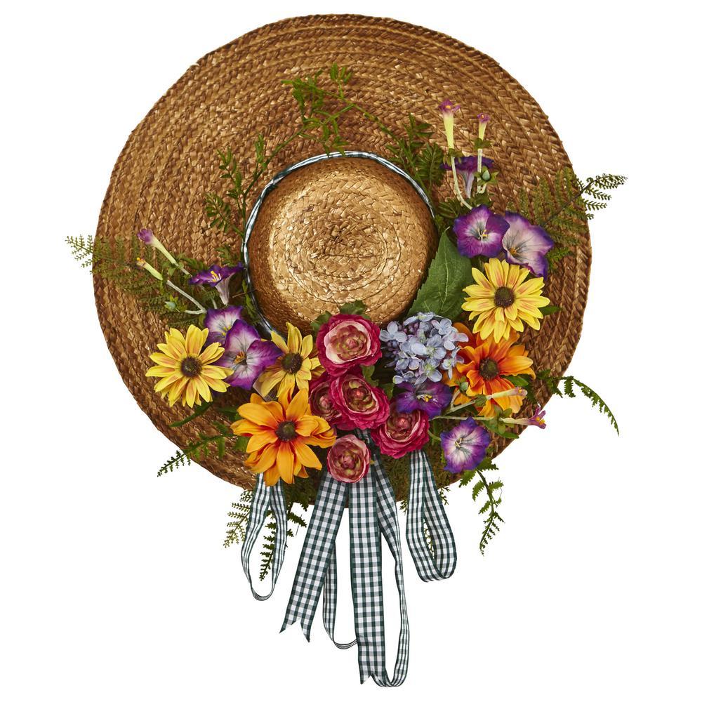 Mixed Flower 18 in. Hat Wreath