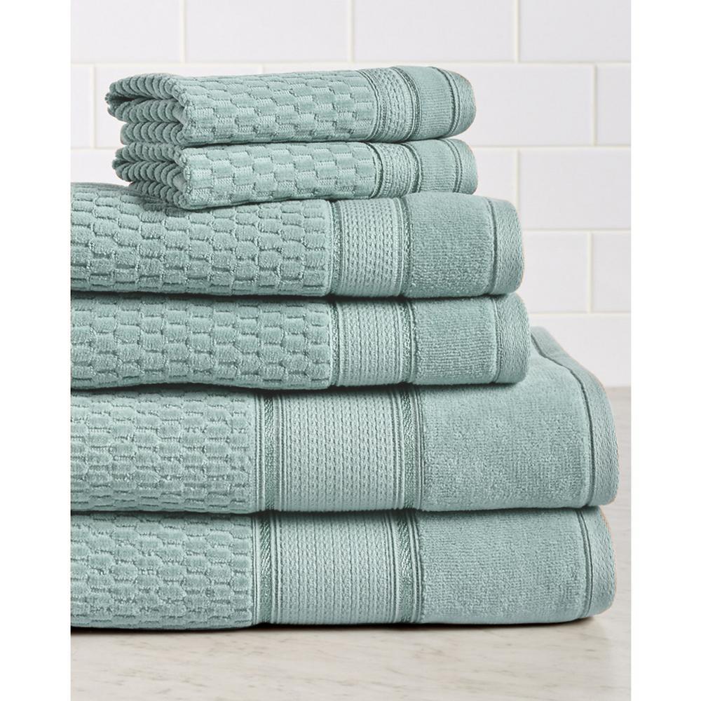 Royale 6-Piece 100% Turkish Cotton Bath Towel Set in Spa Blue
