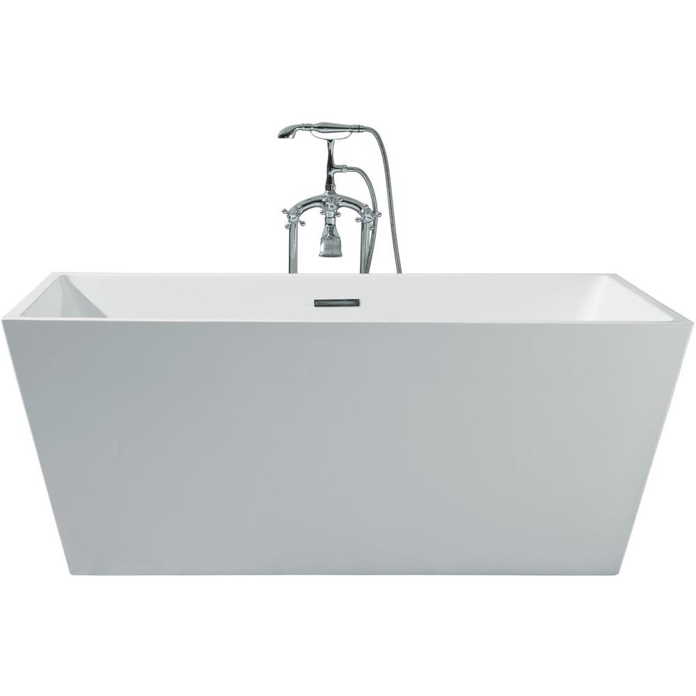 63 in. Acrylic Center Drain Rectangle Flat Bottom Freestanding Bathtub in