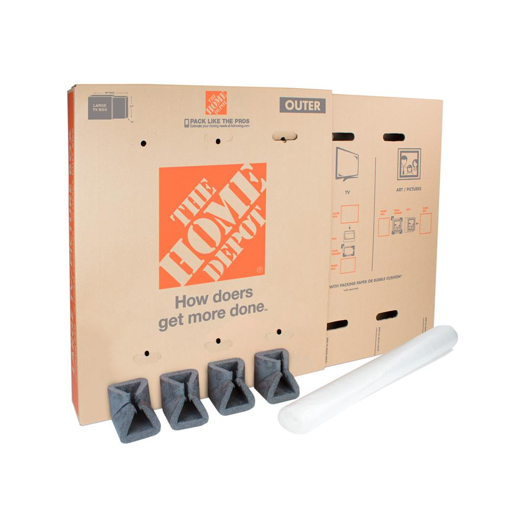 The Home Depot Heavy-Duty Large Adjustable TV and Picture Moving Box with  Handles-1001018 - The Home Depot
