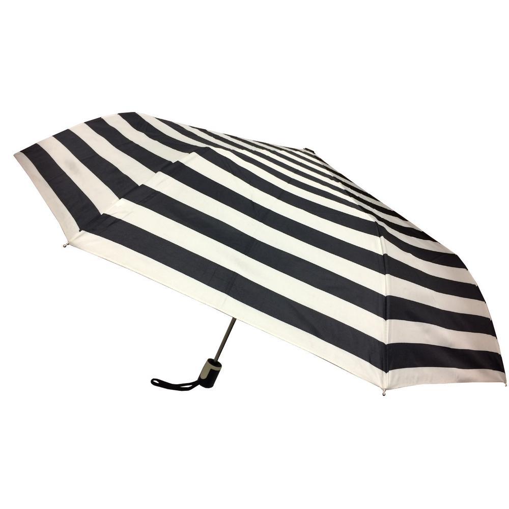 44 in. Arc Black and White Stripe Umbrella