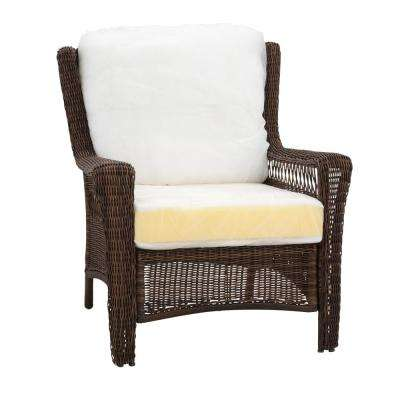Park Meadows Brown Custom Wicker Outdoor Lounge Chair with Cushions Included, Choose Your Own Color