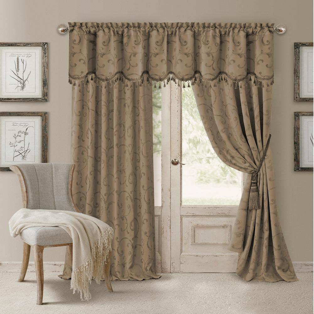 Elrene Mia Jacquard Scroll Blackout Window Curtain