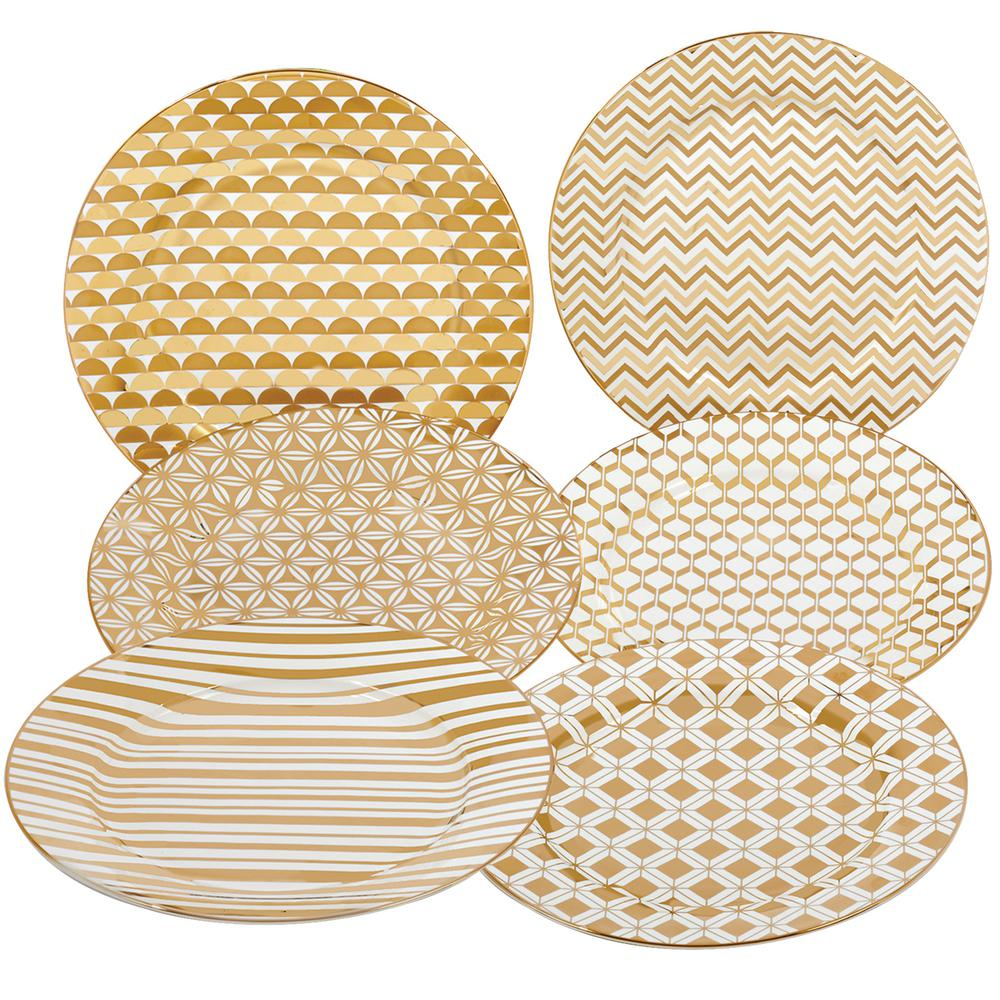 Gold Plated Taperd 8 in. Dessert and Salad Plate (Set of