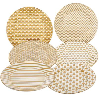 Gold Plated Taperd 8 in. Dessert and Salad Plate (Set of 6)