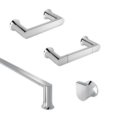 AVIANO 4 Piece Contemporary Bathroom Hardware Accessories Set With 24 Towel Bar Chrome Finish
