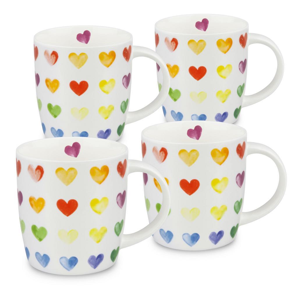 Konitz 4-Piece Colorful Cast Hearts Bone China Mug Set